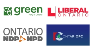 Logos of Ontario's main political parties