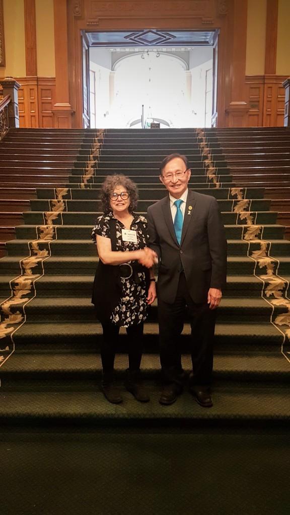 Photo of Gail Thompson with Hon. Raymond Cho